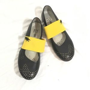 Fly London Perforated Logo Mary Janes Shoes